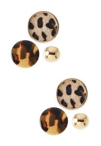 Wild Mix Button Earring Set