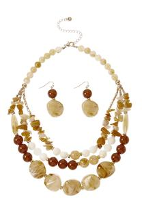 Chunky Bead Necklace Earring Set