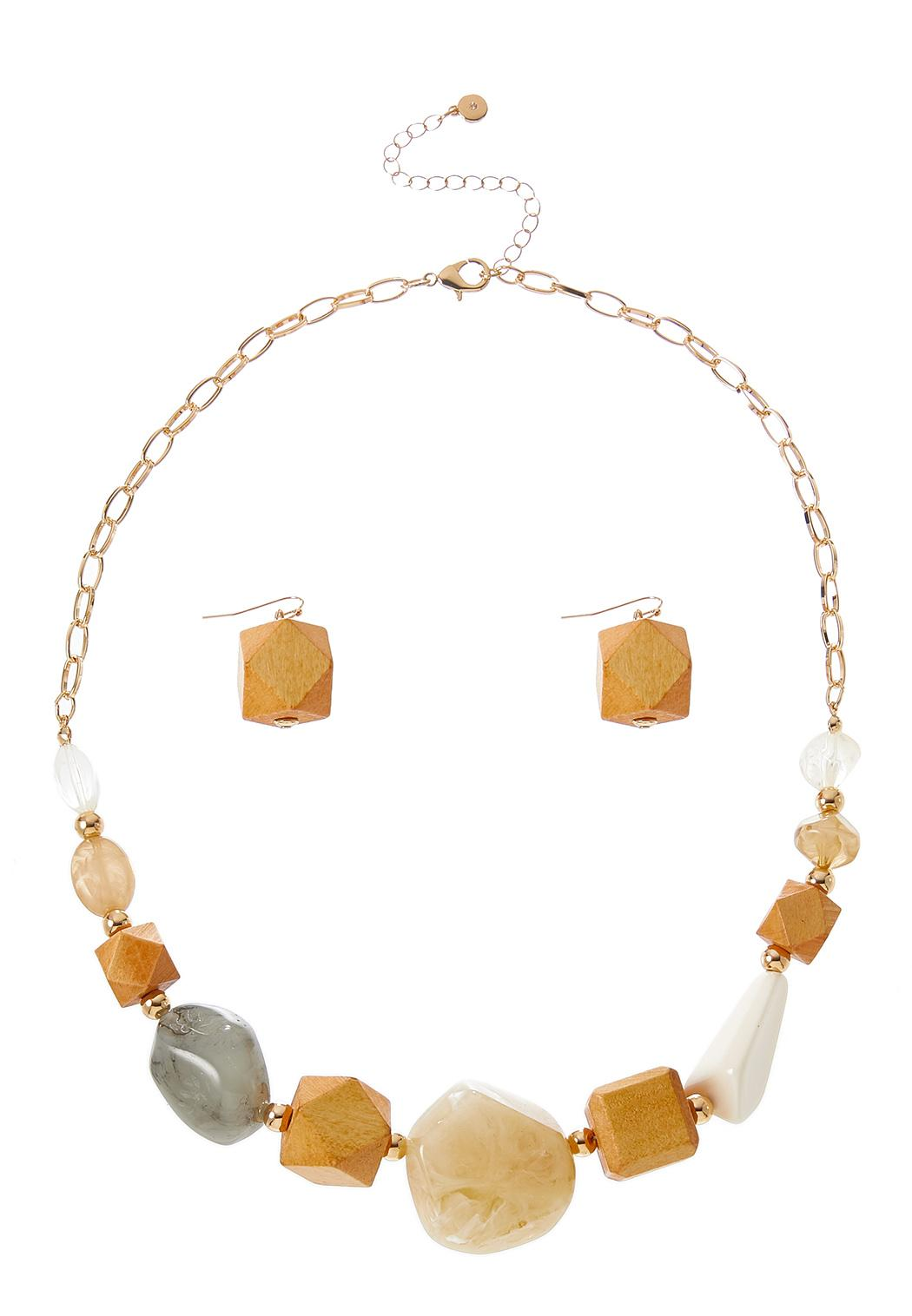 Faceted Mixed Bead Necklace Earring Set