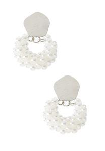 Silver Pearl Door Knocker Earrings