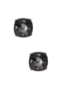Faceted Square Button Earrings