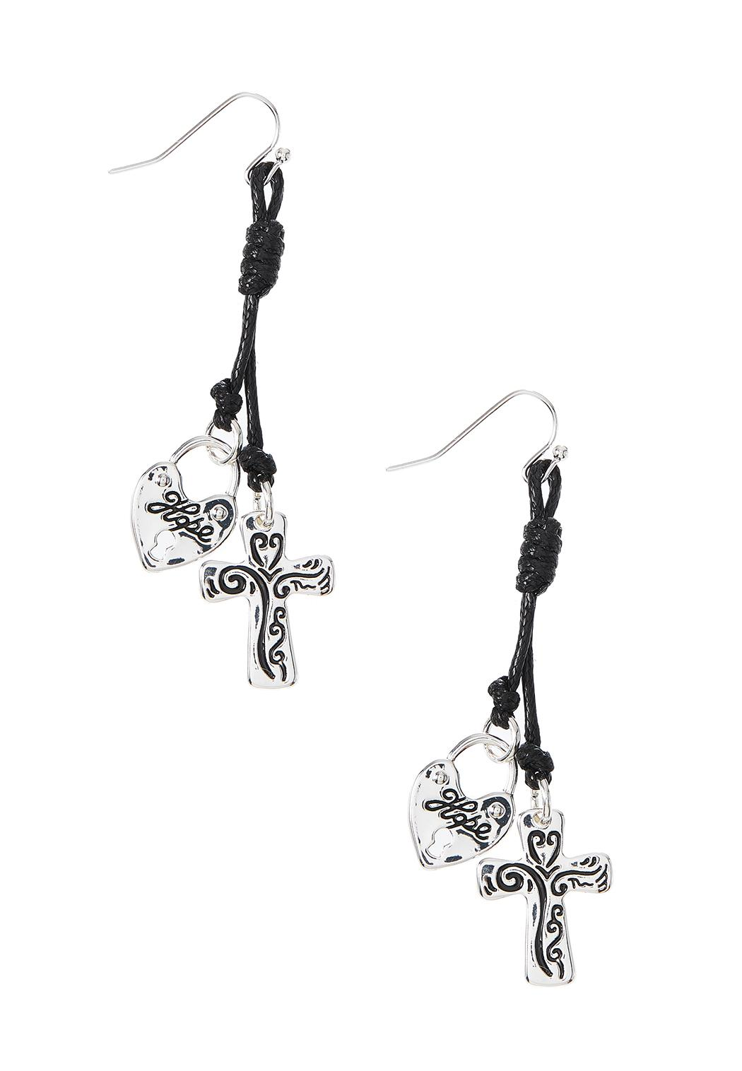 Inspirational Cord Cross Earrings