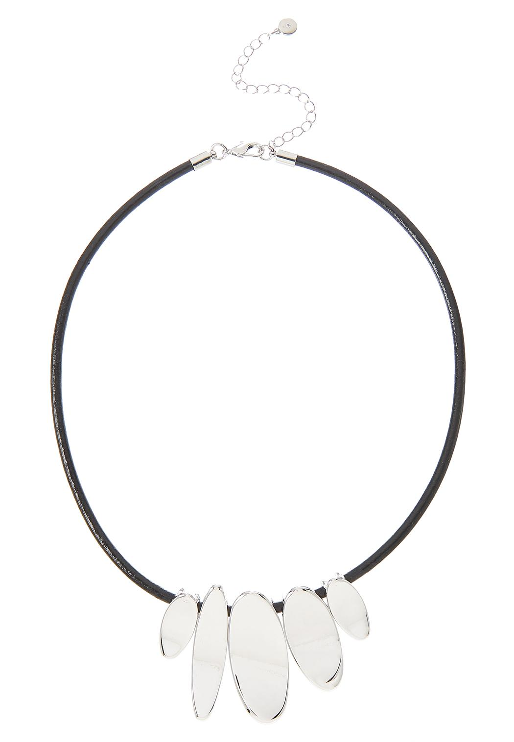 Silver Oval Slider Cord Necklace