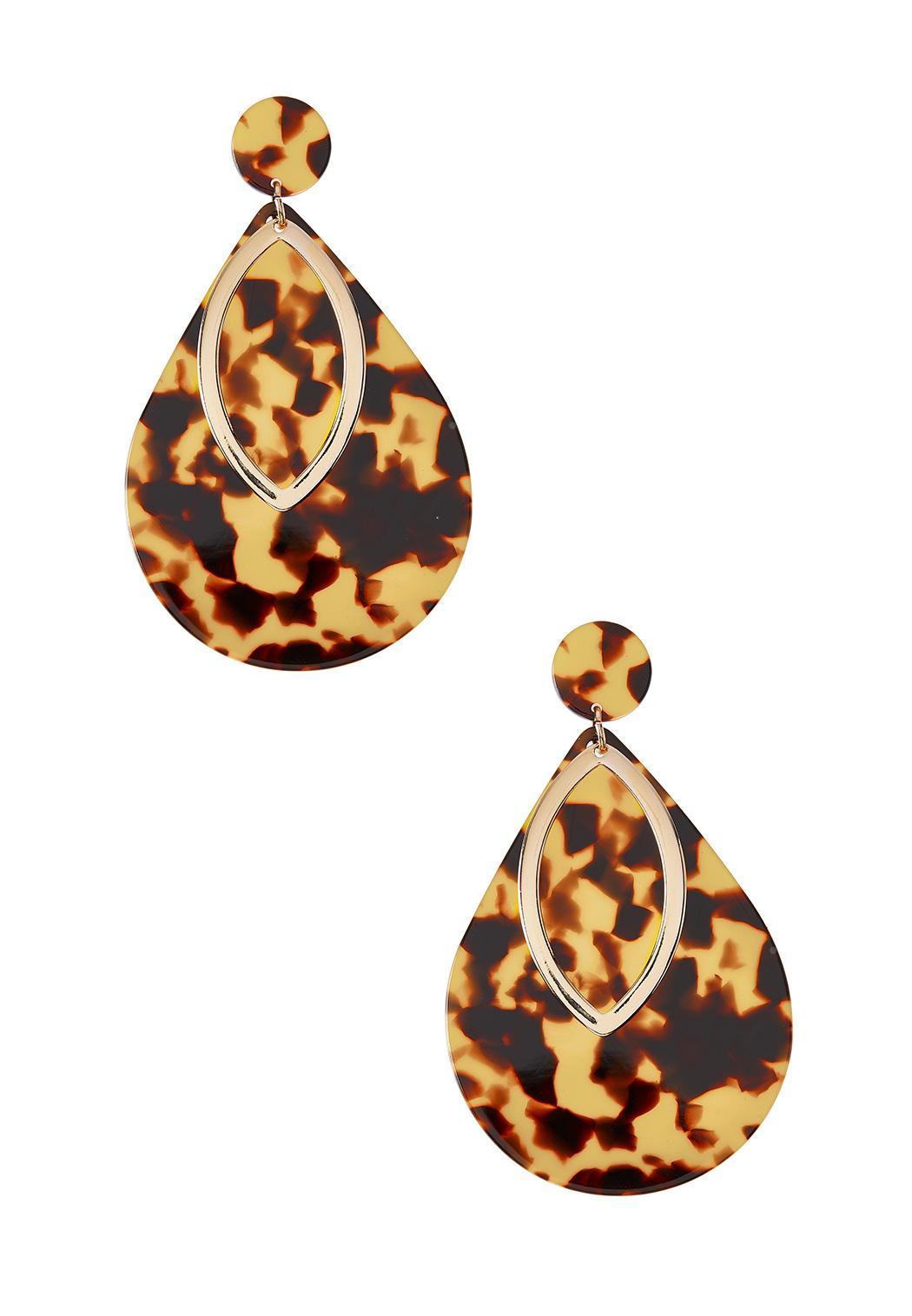 Tortoise Metal Tear Earrings