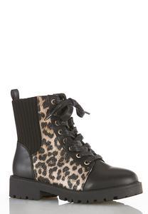 Wide Width Leopard Hiker Boots