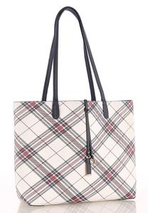 Oversized Plaid Tote