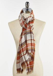 Autumn Plaid Oblong Scarf