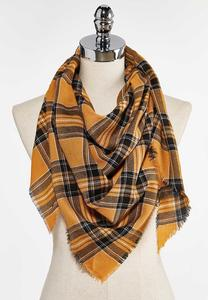 Harvest Plaid Triangle Scarf
