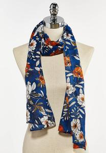 Blue Floral Oblong Scarf