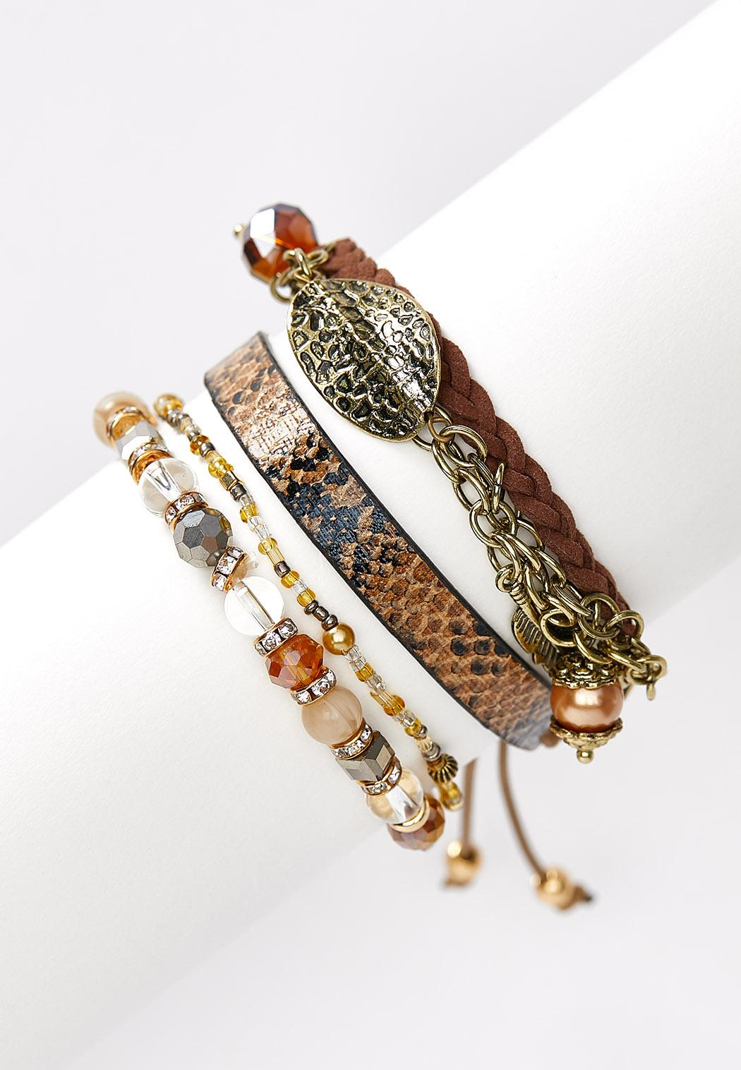 Leather and Chain Bracelet Set