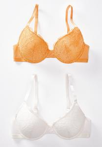 Plus Size White and Gold Lace Bra Set