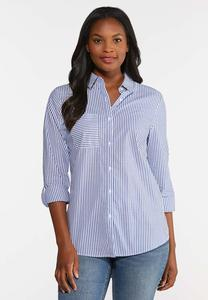 Plus Size Stripe Button Down Shirt