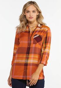 Plus Size Mango Plaid Shirt
