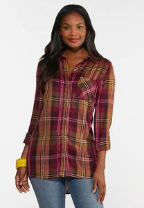 Plus Size Mango Plaid Shirt