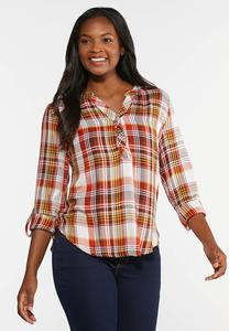 Plus Size Orange Plaid Shirt