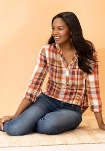 Plus Size Orange Plaid Shirt