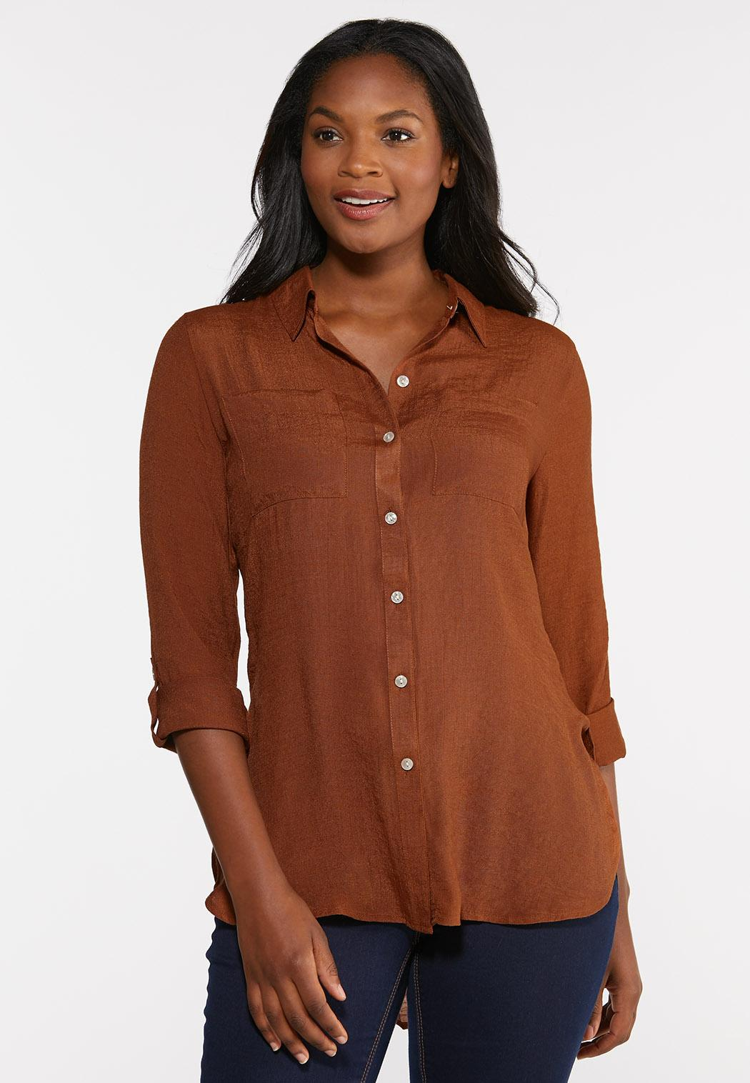 Crepe Button Down Top