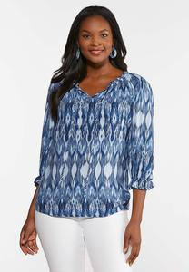 Ruffled Batick Print Poet Top