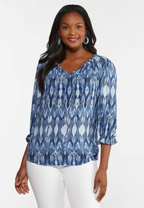 Plus Size Ruffled Batick Print Poet Top