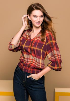 Smocked Plaid Top