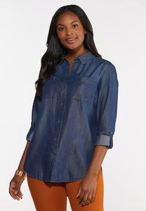 Plus Size Chambray Tunic
