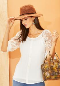 Gauzy Embroidered Sleeve Top
