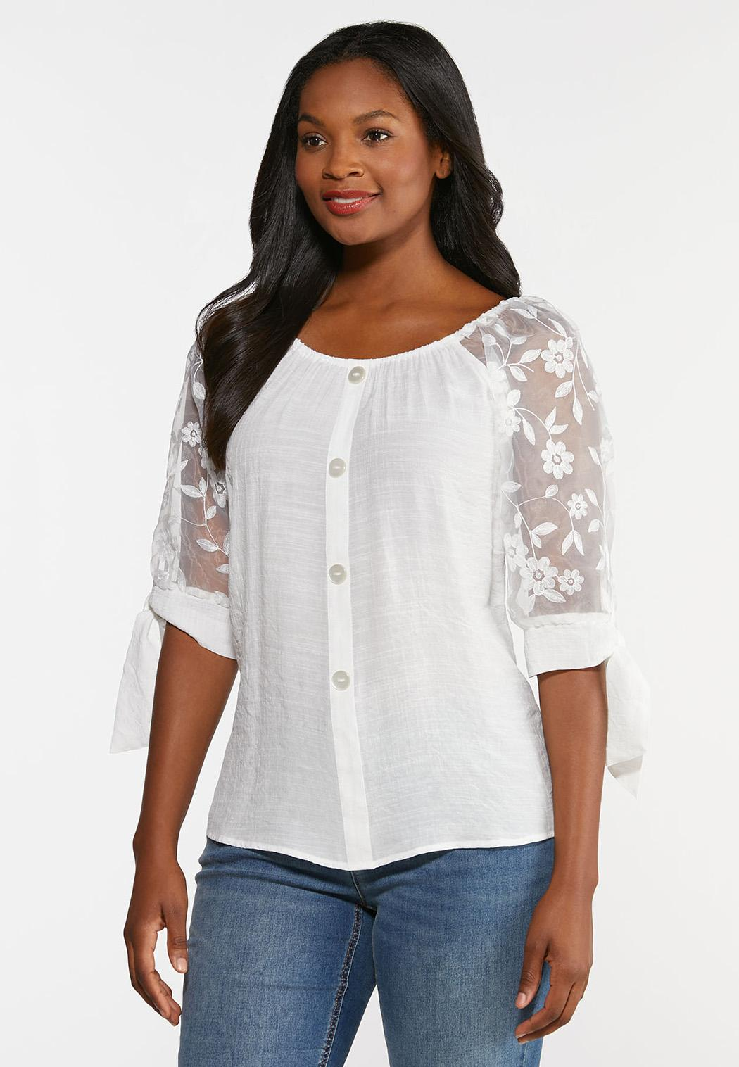 Plus Size Gauzy Embroidered Sleeve Top