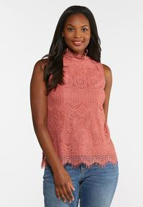Lacy Mock Neck Tank