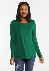 Plus Size Solid Scoop Neck Top