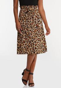 Plus Size Leopard Paperbag Waist Skirt