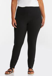 Plus Slit Hem Ponte Leggings