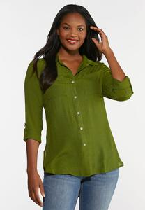 Plus Size Crepe Button Down Top