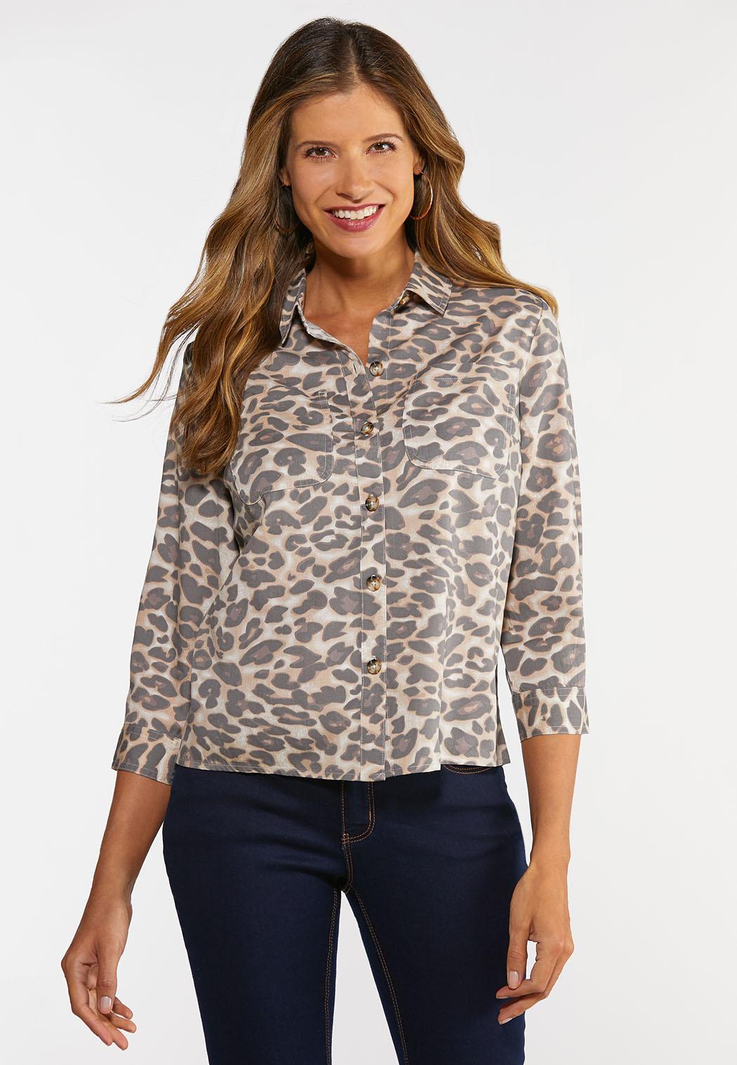 Plus Size Leopard Button Down Shirt