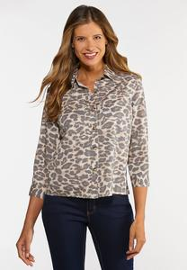 Plus Size Leopard Button Down Shirt