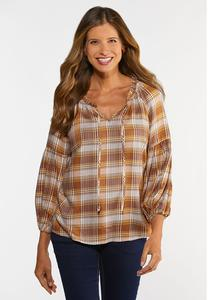 Plus Size Tortoise Plaid Poet Top