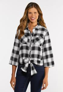 Plus Size Plaid Tie Waist Top