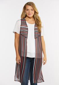 Plus Size Summer Sheer Print Vest