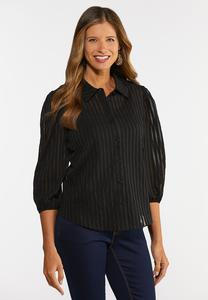 Plus Size Black Shadow Stripe Top