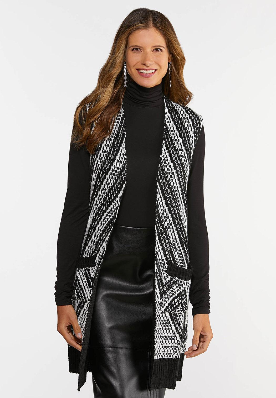 Plus Size Mitered Stripe Sweater Vest