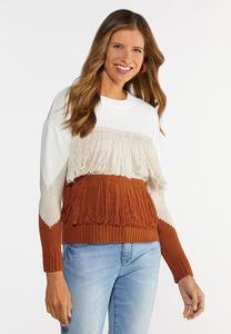 Colorblock Fringe Sweater