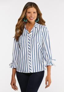 Plus Size Stripe Tie Sleeve Shirt