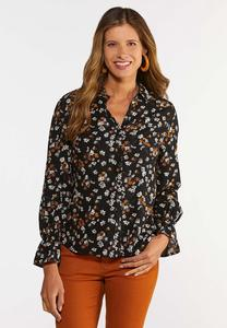 Floral High-Low Shirt