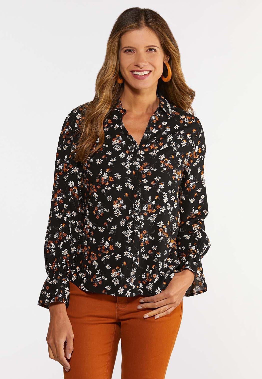 Plus Size Floral High-Low Shirt