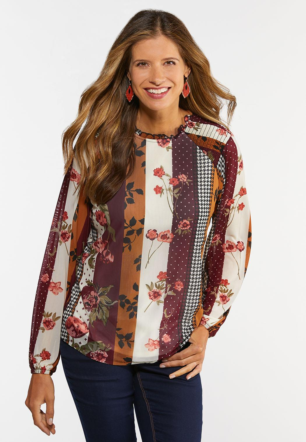 Plus Size Floral Mesh Ruffled Neck Top