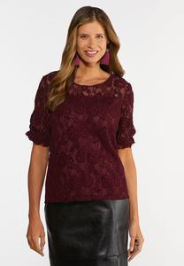 Plus Size Wine Lace Top