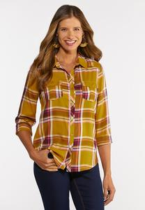Plus Size Honey Plaid Shirt