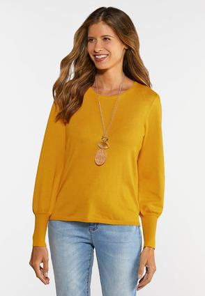 Balloon Sleeve Crew Sweater