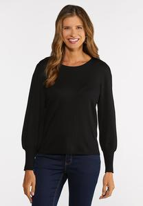 Plus Size Balloon Sleeve Crew Sweater