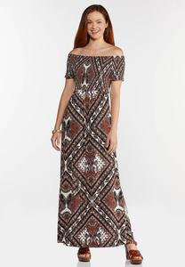 Plus Size Printed Off Shoulder Maxi Dress
