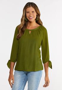 Plus Size Tie Sleeve Poet Top